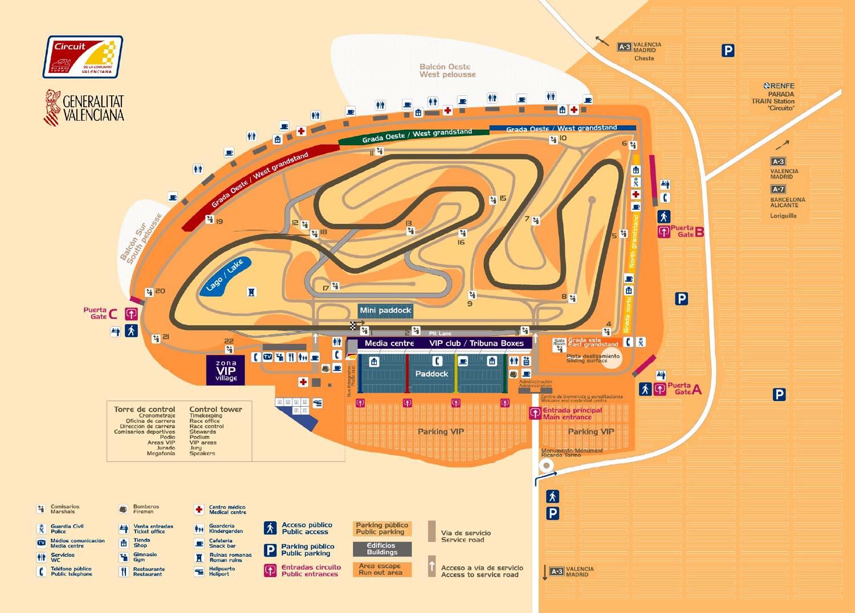 Карта-план Circuito Ricardo Tormo, Валенсия